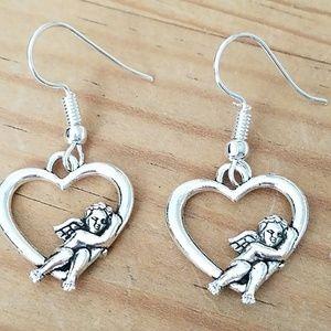 Heart and Cupid earrings